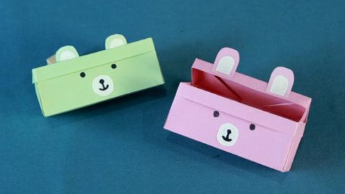 手工折纸教程,简单又可爱的文具盒折纸,小朋