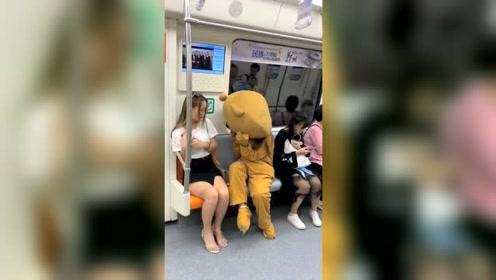 网红熊恶搞小姐姐,这么皮的网红熊,是故意的