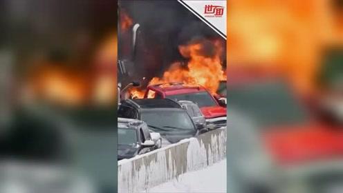 美国29辆车暴风雪中连环相撞 烧焦残骸覆盖路面景象骇人
