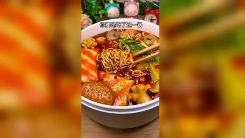 火鸡面火锅,红红火火的火鸡面,食欲大增!
