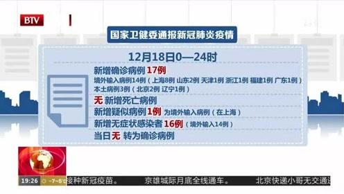 遼寧12月18日新增1例新冠肺炎確診病例:為此前無癥狀感染者密切接觸者