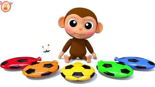 幼儿色彩启蒙:3d可爱的小猴子吹足球图案的彩色气球