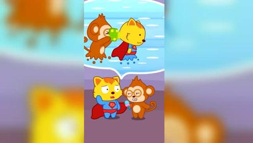 猫小帅小朋友采访喵喵超人,好奇超人穿的这么