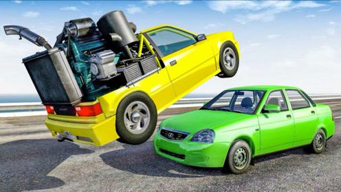 BeamNG:模拟小轿车开足马力迎面撞车画面,摔个