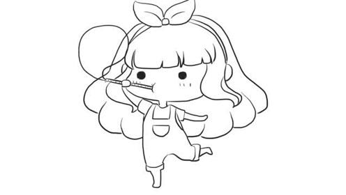 吹泡泡可爱小女孩儿童亲子简笔画宝宝轻松学画画