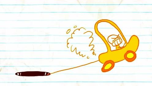 搞笑铅笔动画,美女掉进深洞里,被路过的小黄