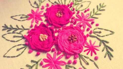 手工刺绣:玫瑰卷针绣缝制玫红色花朵