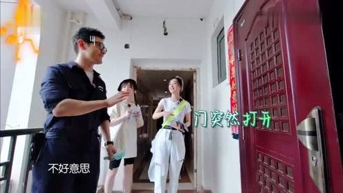 黄晓明刚要按门铃,房门突然打开,当场吓了一