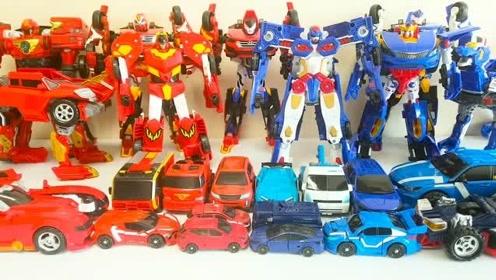 红蓝双色咖宝兄弟汽车机器人变形