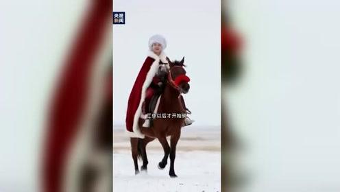 新疆副县长贺娇龙 雪地身披红斗篷策马奔腾 为当地旅游做宣传