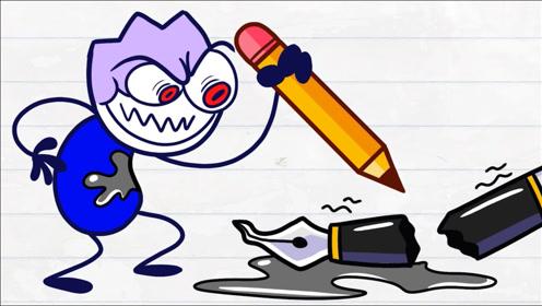 黑色铅笔人总是恶搞路人,看小狗如何机智拯救