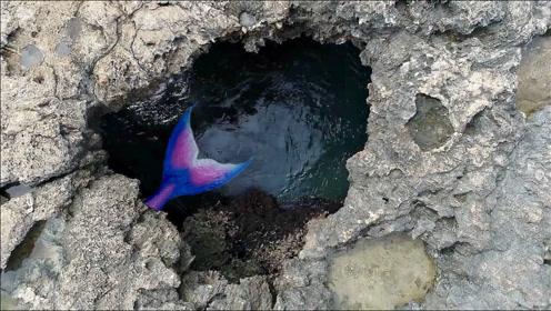 老外海边游玩,意外发现美人鱼洞,走进一看不