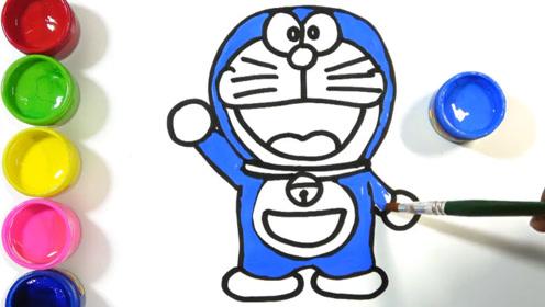 快乐色彩简笔画,画出可爱的哆啦a梦叮当猫
