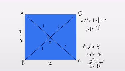 对角线长为2的正方形边长是多少,你会算吗