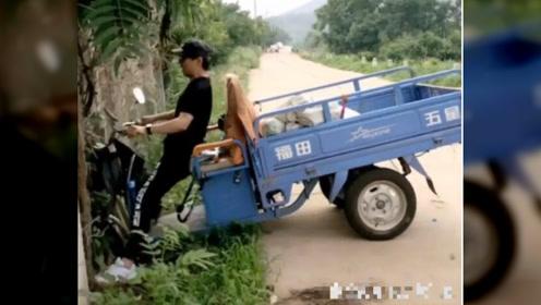 汪峰開三輪摩托車撞樹,章子怡擔心的尖叫出聲
