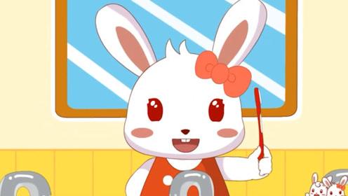 兔小贝儿歌:兔小美在刷牙,她在保护牙齿,兔