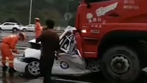 惨烈!教练车遭重卡追尾挤扁,教练生前最后一句话曝光令人泪崩