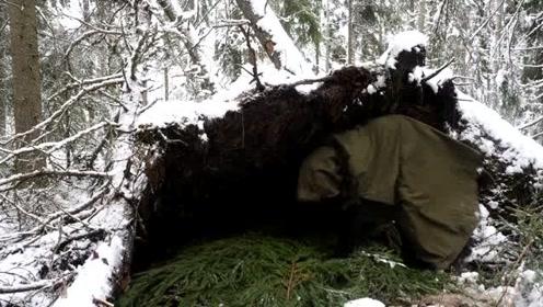 荒野生存:零下30度野外冰雪世界,没有带帐篷,用树枝建造庇护所