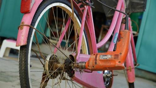 用电钻给自行车做驱动,牛人的这波操作我就问你服不服,这也太给力了