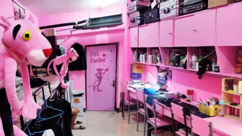 郑州一高校男生打造粉红豹主题宿舍:男生的一种高品质生活