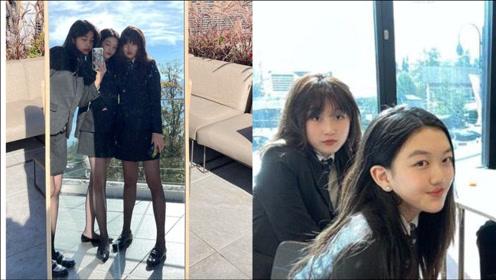 李嫣与同学对镜自拍,穿黑丝袜大长腿抢镜,越