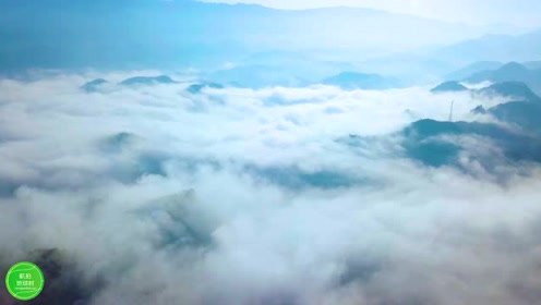 航拍清晨云海奇怪,盛世罕见的美丽风景!