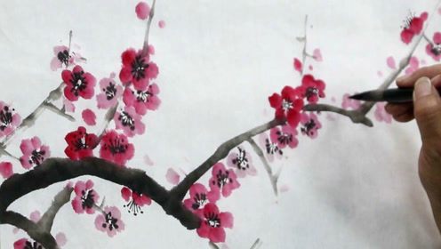 水墨梅花画法技巧,趁湿墨勾花蕊,并填补细枝,更漂亮