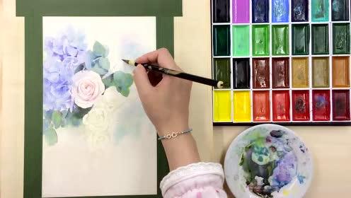 艺师汇安浅浅水彩花卉速放