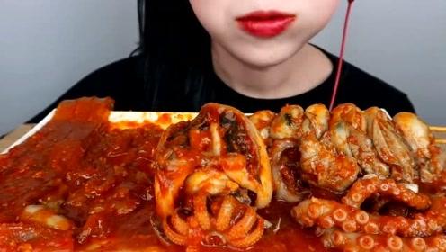 美食二倍速:小姐姐吃香辣章鱼足,香辣宽粉,香辣鲍鱼,香辣扇贝肉