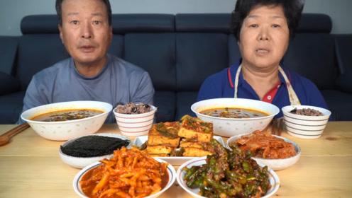 韩国兴森一家三口:妈妈已准备好今日美食教程,麻辣牛肉汤,烧豆腐!