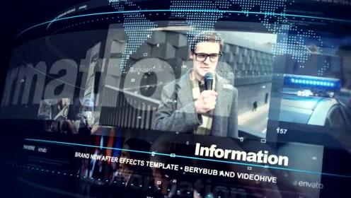 AE模板 广播电视科技新闻播报图片视频展示字幕介绍LOGO标题片头动画