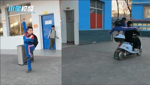 湖南小学生下课打拳,动作行云流水跳上电瓶车的视频走红网络
