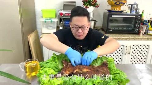 """75买只5斤多的大兔子,做道""""烤全兔""""用手撕着吃,真香"""