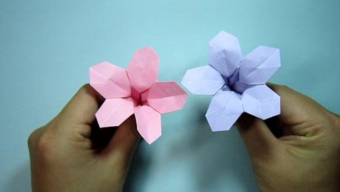 儿童手工折纸喇叭花 简单的手工折纸花朵牵牛花