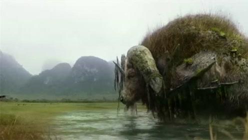 金刚骷髅岛:一行人路过湖泊时,从中出现一头巨大的水牛