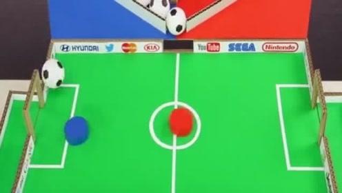 用硬纸板制作精彩的足球桌赛游戏,小孩能玩一天。