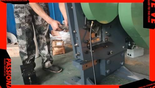 精华冲剪机槽钢剪断工位视频演示