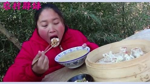 胖妹偷割**三斤腊肉,配素菜包成烧麦,拿出自家咸菜一口一个吃过瘾
