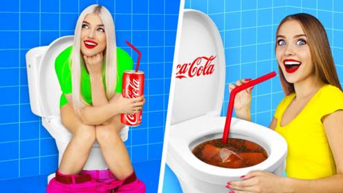 美女挑战真假美食游戏,哪个是真哪个是可乐?网友:我也想玩玩!