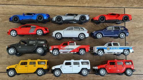 缤纷彩色跑车吉普车模型玩具展示