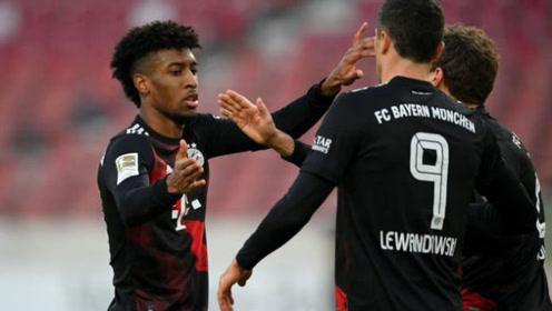 德甲-莱万破门+中柱 科曼传射 拜仁客场3-1逆转斯图加特