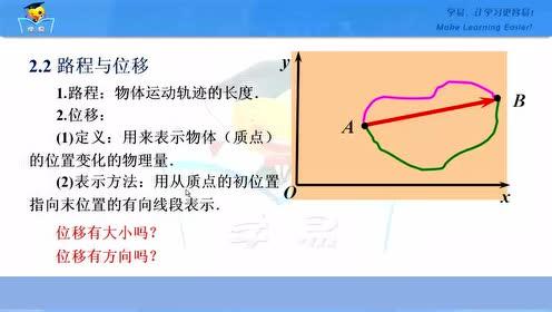 高中物理必修1第一章 运动的描述 2 时间和位移