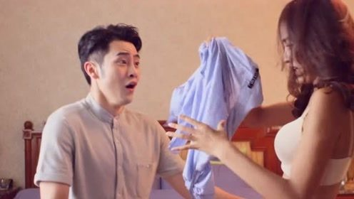 美女为了捉虫子,直接把衣服给脱了,顺便还把男子扑倒了