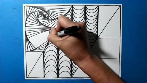 手绘线条3D图案