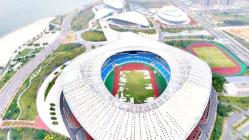 航拍湛江地标奥林匹克体育中心,高空仰望好像一只超大的海螺