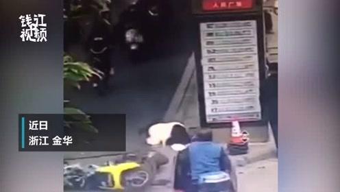 担心的事还是发生了!金华一男子骑电动车撞倒出公交站台行人