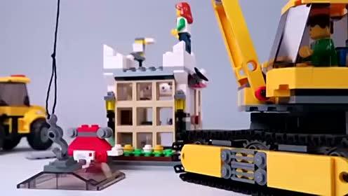 汽车表演视频 玩具挖掘机视频表演 乐高城市动画