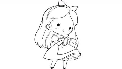 可爱的蝴蝶结小女孩卡通动漫简笔画