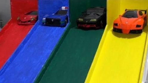 小汽车们在停车场玩旋转滑滑梯游戏