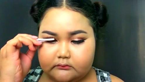 大圆脸胖妞教你化妆术,丑女变可爱美女!